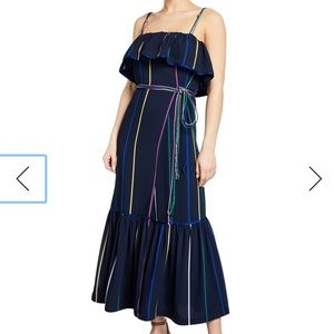 Derek Lam 10 Crosby Striped Ruffle Maxi Dress